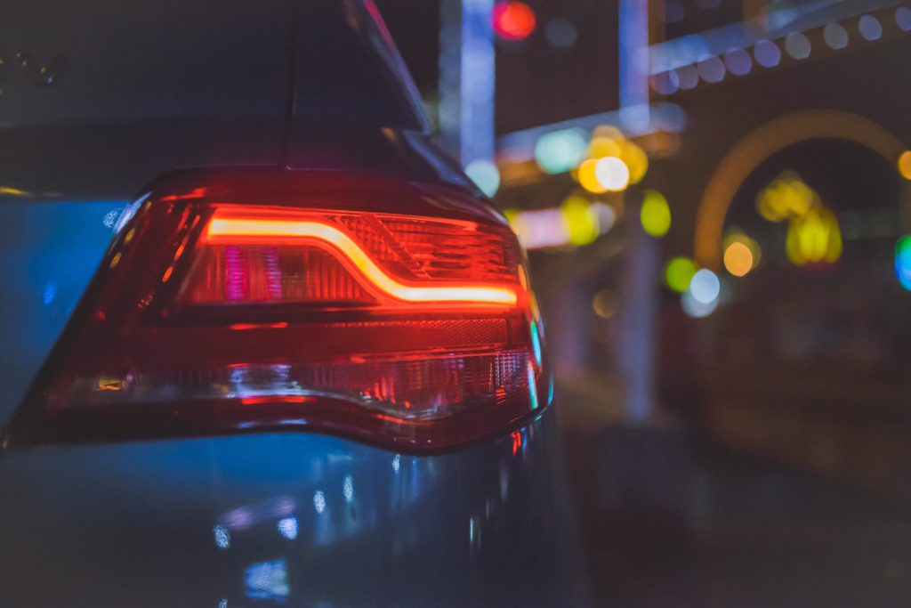 LED headlight on an automobile at night