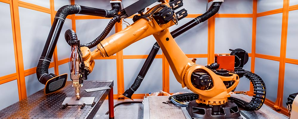 Robot working in an industrial environment
